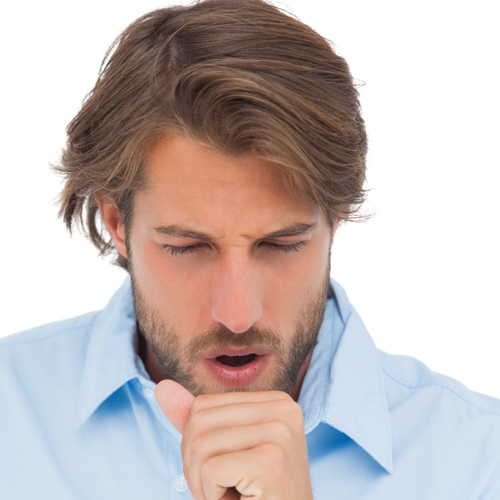 Tanned man having a coughing fit on white background